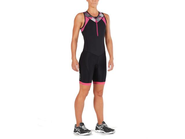 2XU Active Strój triathlonowy Kobiety, black/retro pink peackock